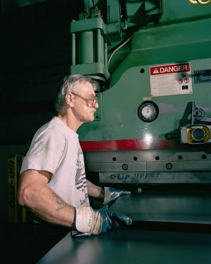 Press Break Operator at Bilco; Photo Credit: Angela Strassheim.