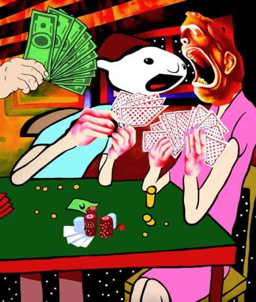 "Eben Kling, The Cheater, 2016. Acrylic on canvas, 32"" x 38""."