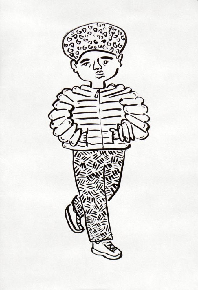 """Chen Reichert, Puffy Coat, 2018. Ink, 8.25"""" x 11.7""""."""