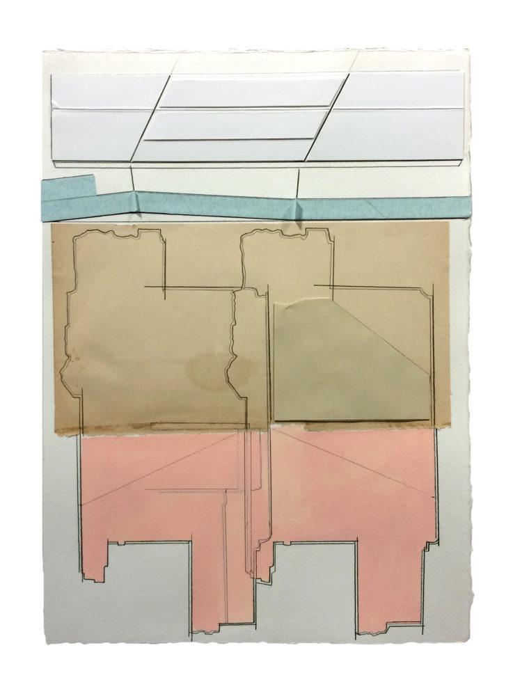 "Ryan Sarah Murphy, Landing, 2018. Collage, pencil, gouache on paper, 10"" x 14""."