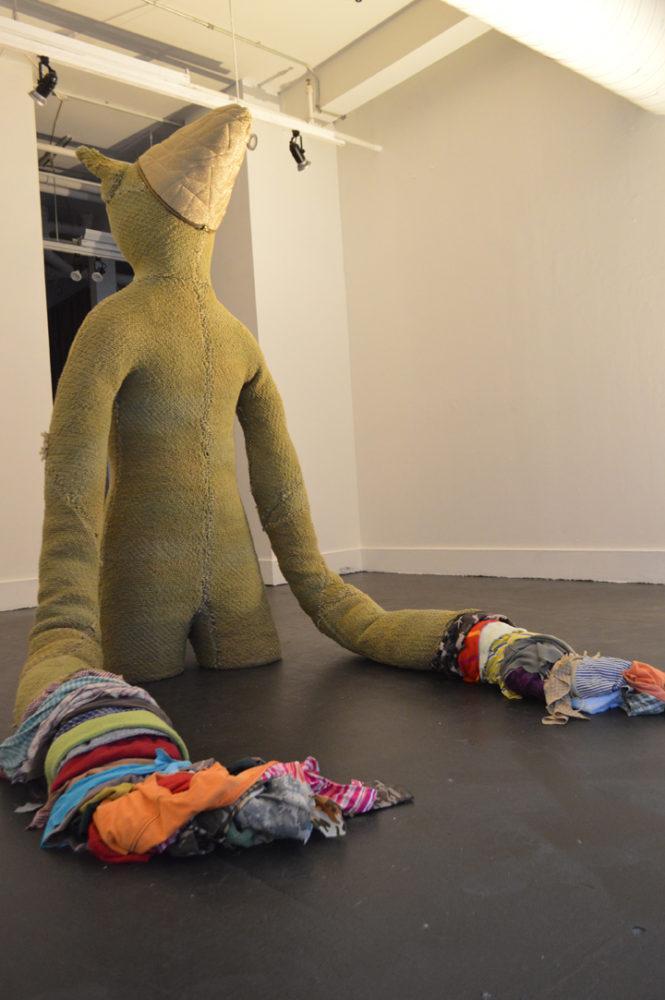 "Eric Conrad, The Existentialist, Fabric, 76""x30""x84""."